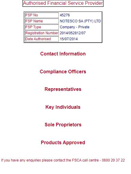 Notesco IronFX FSCA régulation